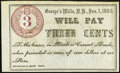 Obsoletes By State:New Hampshire, George's Mills, NH- Unknown Issuer 3¢ Jan. 1, 1865 About Uncirculated.. ...