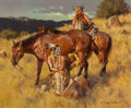 Fine Art - Painting, American, Gary Lawrence Niblett (American, b. 1943). Distant Hoofs. Oil on canvas. 18 x 22 inches (45.7 x 55.9 cm). Signed lower r...
