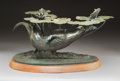 Sculpture, Hollis Williford (American, 1940-2007). Chasing Rainbows. Bronze with green patina. 12 inches (30.5 cm) high on a 1-1/2 ...