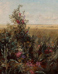 Jerome Thompson (American, 1814-1886) Wild Flowers Oil on canvas 14-3/4 x 11-3/4 inches (37.5 x 2