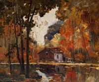 Anthony Thieme (American, 1888-1954) Quiet Spot Oil on canvas 29-3/4 x 24-1/2 inches (75.6 x 62.2