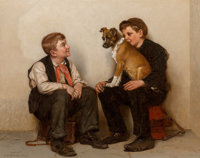 John George Brown (American, 1831-1913) Two Shoeshine Boys with a Dog, circa 1900-05 Oil on canvas