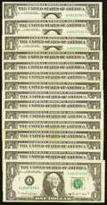 Small Size:Federal Reserve Notes, A-G Block Fr. 1917-A $1 1988A Federal Reserve Web Notes. Fifteen Examples. Fine or Better.. ... (Total: 15 notes)