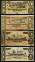 Confederate Notes:1864 Issues, T67 $20 1864 Two Examples Very Fine or Better;. T68 $10 1864 Two Examples Very Fine or Better.. ... (Total: 4 notes)