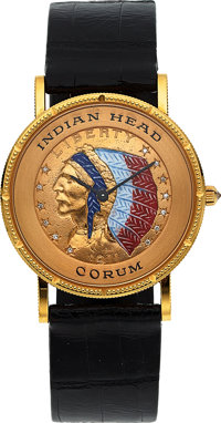 Corum, Five Dollar Indian Head Gold, Diamond & Enamel Watch, Circa 1990's