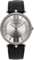 Timepieces:Wristwatch, Van Cleef & Arpels, Pierre Arpels Collection, 38mm, 18k White Gold and Diamond Pave, Circa 2000's. ...