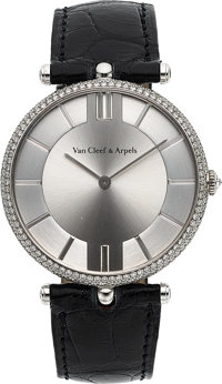 Van Cleef & Arpels, Pierre Arpels Collection, 38mm, 18k White Gold and Diamond Pave, Circa 2000's