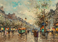 Antoine Blanchard (French, 1910-1988) Théâtre des Variétés Oil on canvas 13 x 18 inches (33.0...