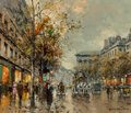 Paintings, Antoine Blanchard (French, 1910-1988). Boulevard de la Madeleine. Oil on canvas. 18 x 21 inches (45.7 x 53.3 cm). Signed...
