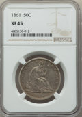 Seated Half Dollars: , 1861 50C XF45 NGC. NGC Census: (43/398). PCGS Population: (111/524). CDN: $160 Whsle. Bid for problem-free NGC/PCGS XF45. M...