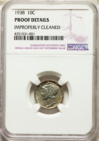 1938 10C -- Improperly Cleaned -- NGC Details. Proof. NGC Census: (1/1839). PCGS Population: (1/2797). CDN: $120 Whsle...