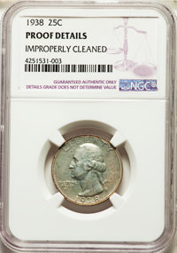 1938 25C -- Improperly Cleaned -- NGC Details. Proof. NGC Census: (4/1266). PCGS Population: (5/2155). CDN: $70 Whsle. B...
