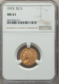 Indian Quarter Eagles: , 1915 $2 1/2 MS61 NGC. NGC Census: (2865/6968). PCGS Population: (792/4401). MS61. Mintage 606,000. ...
