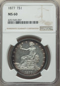 Trade Dollars: , 1877 T$1 MS60 NGC. NGC Census: (13/274). PCGS Population: (12/285). MS60. Mintage 3,039,710. ...