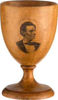 Abraham Lincoln: Very Unusual Mauchline Ware Wooden Cup with Beardless Portrait Transfer