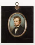 Antiques:Folk Art, Abraham Lincoln: Miniature Portrait in Ebonized Frame.. ...