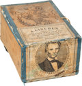 Political:3D & Other Display (pre-1896), Abraham Lincoln: Unique 1860-Dated Wooden Cigar Box....