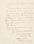 Autographs:Military Figures, Ft. Sumter: Copy of Notification Letter in the hand of Captain Stephen D. Lee Sent to Major Robert Anderson Prior to the Comme...