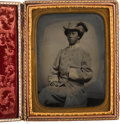 Photography:Tintypes, Confederate Cavalry Officer: Magnificent Half-Plate Tintype. . ...