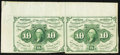 Fractional Currency:First Issue, Fr. 1242 10¢ First Issue Uncut Pair Fine-Very Fine.. ...