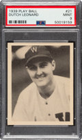 Baseball Cards:Singles (1930-1939), 1939 Play Ball Dutch Leonard (All Caps) #21 PSA Mint 9 - Pop Three, None Higher. ...