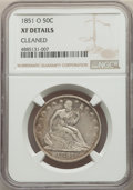 Seated Half Dollars, 1851-O 50C -- Cleaned -- NGC Details. XF. NGC Census: (6/44). PCGS Population: (10/87). CDN: $425 Whsle. Bid for problem-fr...