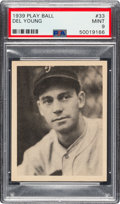 Baseball Cards:Singles (1930-1939), 1939 Play Ball Del Young #33 PSA Mint 9 - Pop Three, None Higher. ...