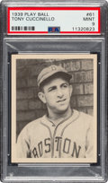 Baseball Cards:Singles (1930-1939), 1939 Play Ball Tony Cuccinello (All Caps) #61 PSA Mint 9 - Pop Two, None Higher. ...
