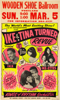 Music Memorabilia:Posters, Ike & Tina Turner Revue 1967 Hot Pink & Yellow Day-Glo Concert Poster (AOR-1.72)...