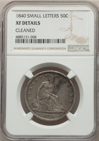 1840 50C Reverse of 1839, Small Letters, -- Cleaned -- NGC Details. XF. NGC Census: (17/206). PCGS Population: (73/263)...