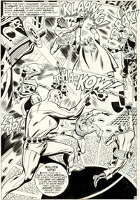 Don Heck and George Roussos (as George Bell) The Avengers Annual #1 Splash Page 45 Original Art (Marve