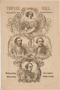 P. T. Barnum and Jenny Lind: Pictorial 1850 New York City Concert Program