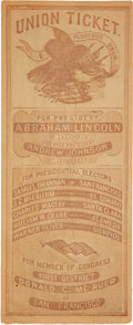 Political:Small Paper (pre-1896), Abraham Lincoln: San Francisco Ballot with Naval Battle Scene on Verso....