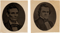 Abraham Lincoln & Stephen A. Douglas: Rare Photographs On Leather. ... (Total: 2 Items)
