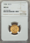 1904 $2 1/2 MS64 NGC. NGC Census: (1003/783). PCGS Population: (963/813). MS64. Mintage 160,700