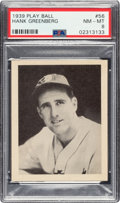 Baseball Cards:Singles (1930-1939), 1939 Play Ball Hank Greenberg (Title Case) #56 PSA NM-MT 8 - Only One Higher. ...