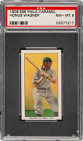 Baseball Cards:Singles (Pre-1930), 1909 E95 Philadelphia Caramel Honus Wagner PSA NM-MT 8 - Pop One, None Higher! ...