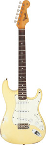 Musical Instruments:Electric Guitars, Circa 1964 Fender Stratocaster Olympic White Solid Body Electric Guitar, Serial # L36013.. ...