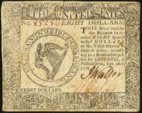 Continental Currency September 26, 1778 $8 Very Fine