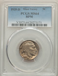 1935-D 5C Repunched Mintmark, MS64 PCGS. PCGS Population: (1357/800). NGC Census: (755/350). CDN: $95 Whsle. Bid for pro...