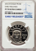 2016-W $100 One-Ounce Platinum Eagle, Statue of Liberty, Early Releases, PR70 Ultra Cameo NGC. NGC Census: (0). PCGS Pop...