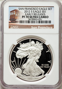 2012-S $1 Silver Eagle, 75th Anniversary Set, Early Releases PR70 Ultra Cameo NGC. This lot will also include a: 2012-...