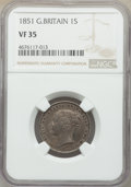 Great Britain: Victoria Shilling 1851 VF35 NGC