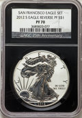 2012-S $1 Silver Eagle, 75th Anniversary Set, PR70 Ultra Cameo NGC. This lot will also include a: 2012-S $1 Reverse P
