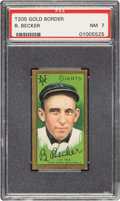 Baseball Cards:Singles (Pre-1930), 1911 T205 Gold Border Bob Becker PSA NM 7 - Pop Five, Only One Higher. ...