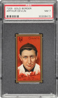 Baseball Cards:Singles (Pre-1930), 1911 T205 Gold Border Arthur Devlin PSA NM 7. ...