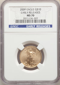 2009 $10 Quarter-Ounce Gold Eagle, Early Releases MS70 NGC. NGC Census: (0). PCGS Population: (1184). MS70. Mintage 110...