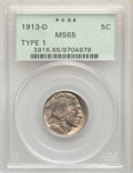 Buffalo Nickels, 1913-D 5C Type One MS65 PCGS. PCGS Population: (904/556). NGC Census: (542/204). CDN: $225 Whsle. Bid for problem-free NGC/...