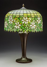 American Leaded Glass and Bronzed Dogwood Table Lamp, circa 1930 28 x 18-1/2 inch