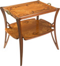 Furniture, Louis Majorelle Mahogany and Marquetry Orchid Pattern Olga Table, circa 1900. 32-1/2 x 30-3/4 x 23 i...
